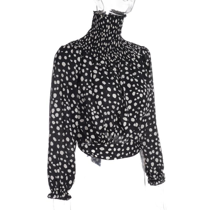 Spring Autumn Women Fashion Blouses Long Sleeve Spotted Top Stylish Lace-up Shirts For Ladies Women's &