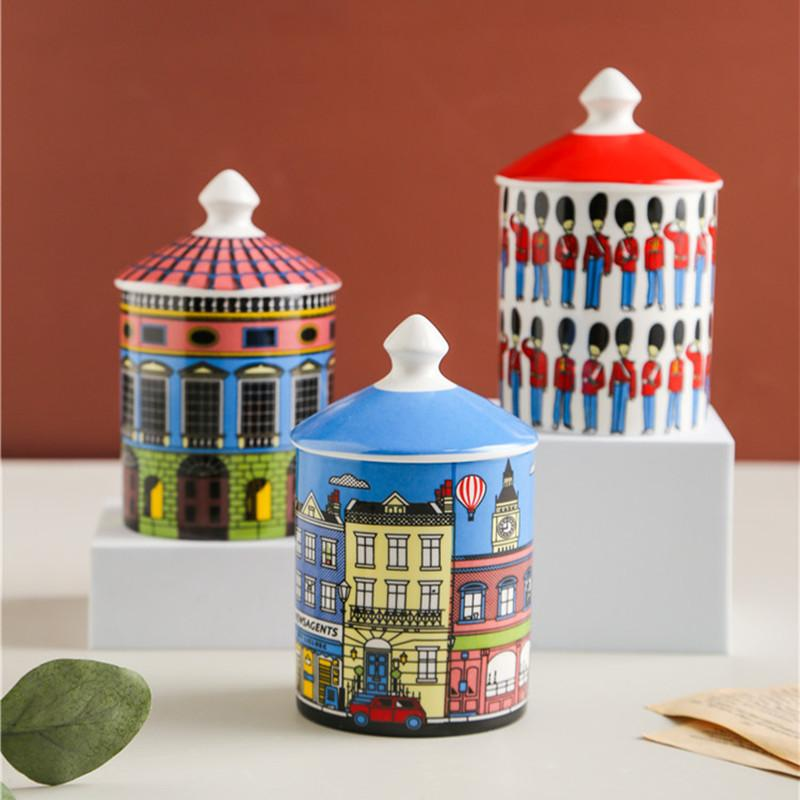 Castelo colorido cerâmico castelo DIY DIY Handmade Doces Frasco Armazenamento Do Vintage Artesanato Decoração Home Caixa de Armazenamento JewerLly