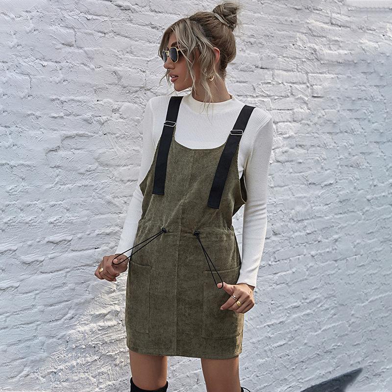 Vestito da fionda a coste della molla Delle vestito da donna selvaggio Casual Pocket Elastic Waist Party per 2021 Dolci mini abiti