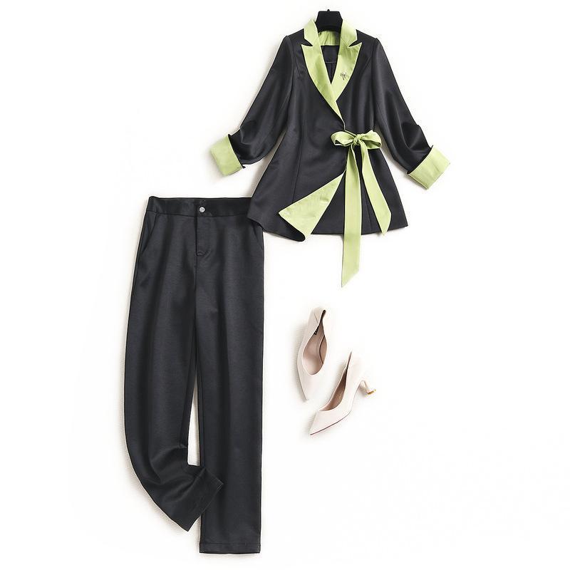 Ropa de talla grande para mujeres XXXL Pantalones negros Conjunto de primavera verano 2021 Office Lady Fashes Bloque de color Blazer Dos piezas trajes de mujer