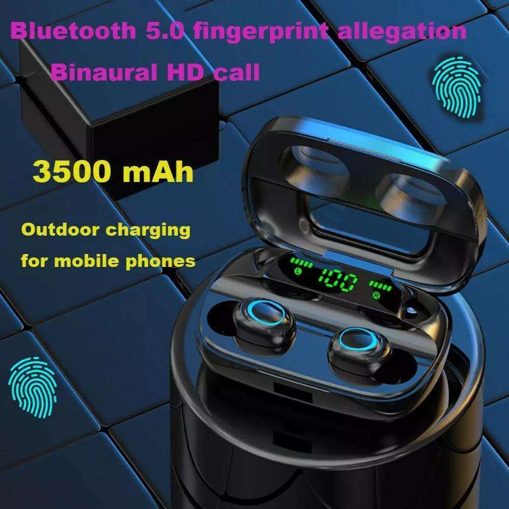 TWS 3500MAH Power Bank Спортивные наушники 8D Touch LED Bluetooth 5.0 Наушники Беспроводная стереоактивная наушника гарнитура с микрофоном