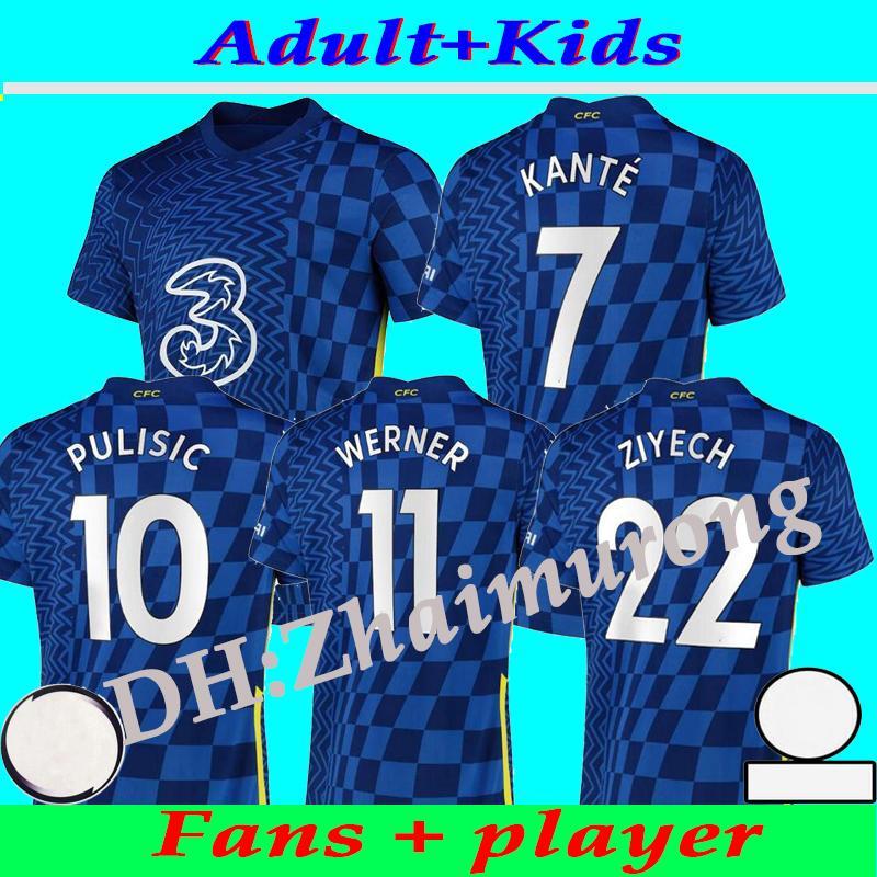 CFC Soccer Jersey Pulisic Ziyech Havertz Kante Werner Chilwell Mount Jorginho 2021 2022 جيرود كرة القدم قميص 21 22 منزل بعيدا Thrid الرابع مايوه دي القدم الرجال + أطفال كيت