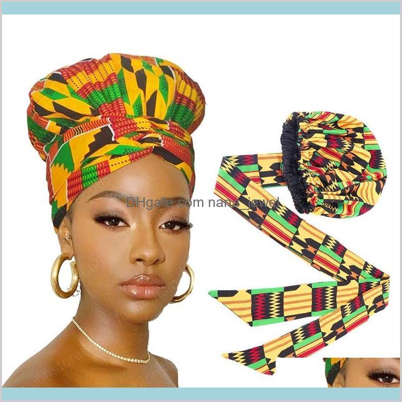 Африканская печать сатин капота с длинной лентой обертка двойной слой головной драйверов Анкара узор женские волосы крышка волос большой размер волос загрязняют крышкой AJ5UP LWU4Y
