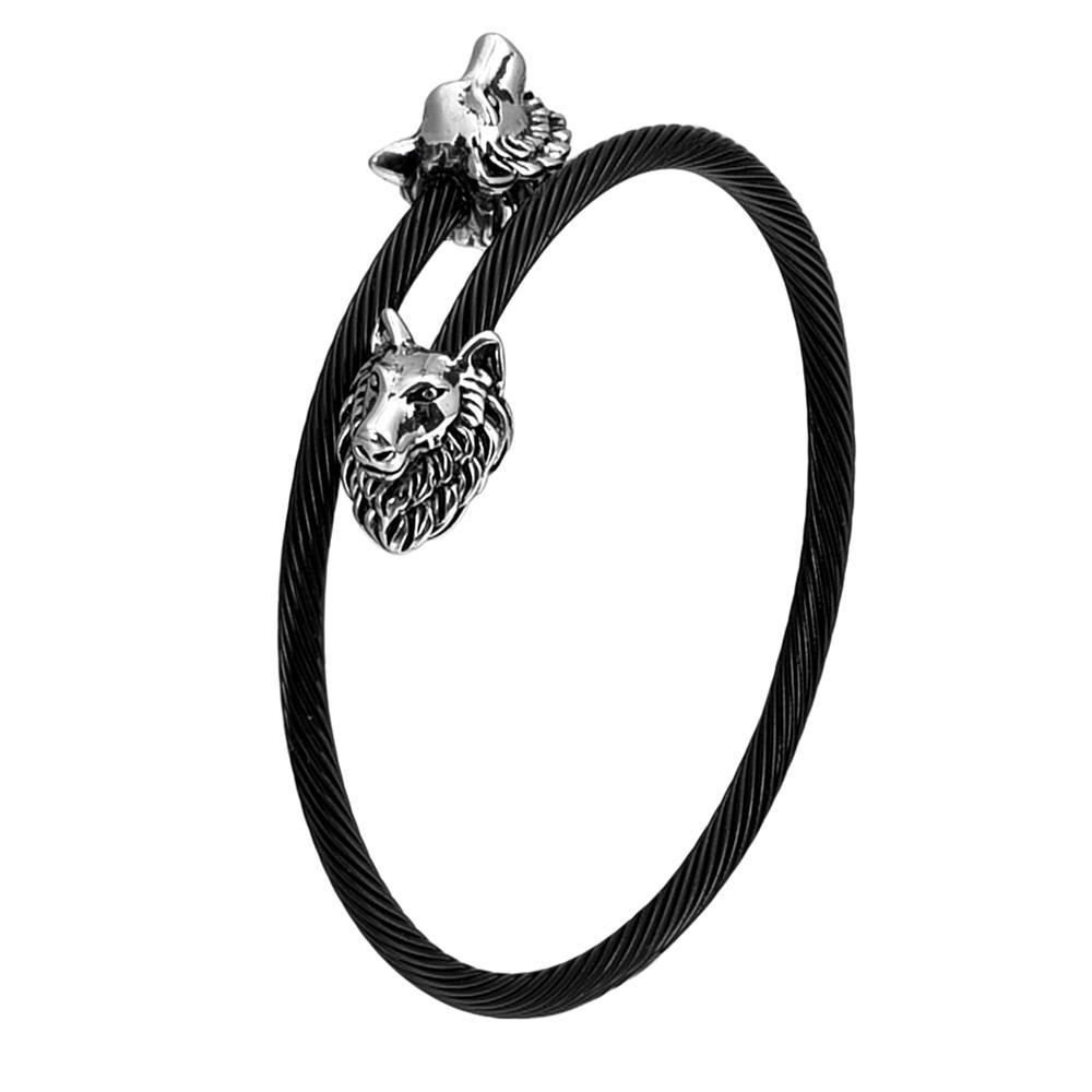 Модный волк головы шарм из нержавеющей стали конопляный веревка пряжка открытые браслеты кросс манжеты браслет для мужчин женщин унисекс украшения