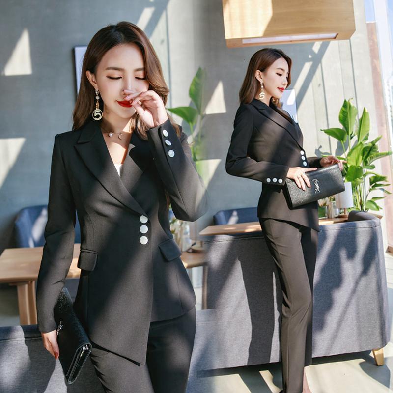 Women's Suits & Blazers High Qualit Women Pant Casual Office Business Formal Work Wear Sets Uniform Styles Elegant Two-piece Suit