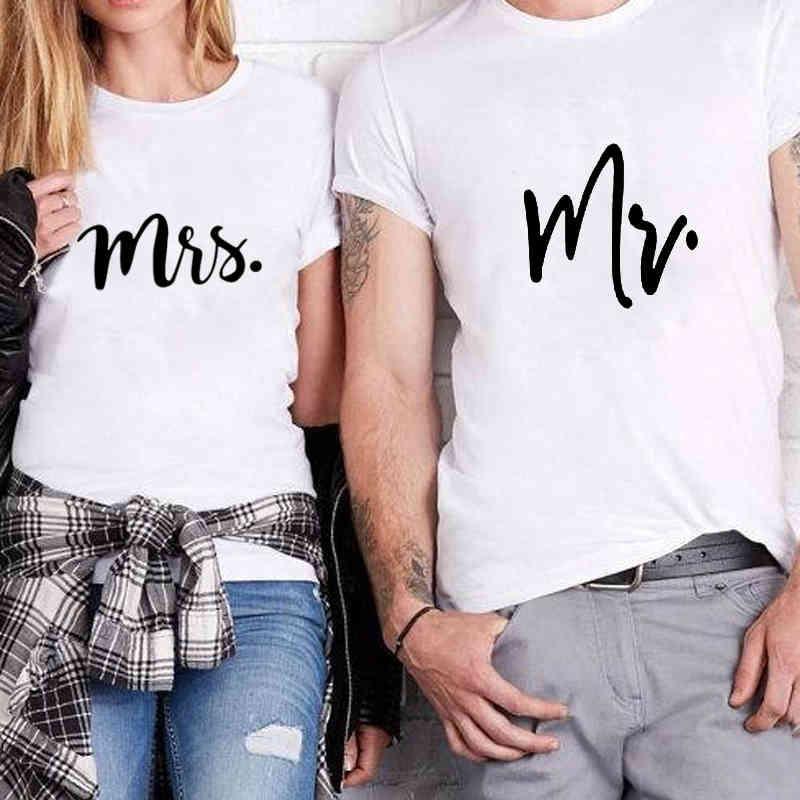 Yıldönümü Hediye Balayı Tişört MR ve MRS Tee Çift Gömlek Komik Eşleştirme Mektup Çift Pamuk T-Shirt Düğün T Gömlek Q0323