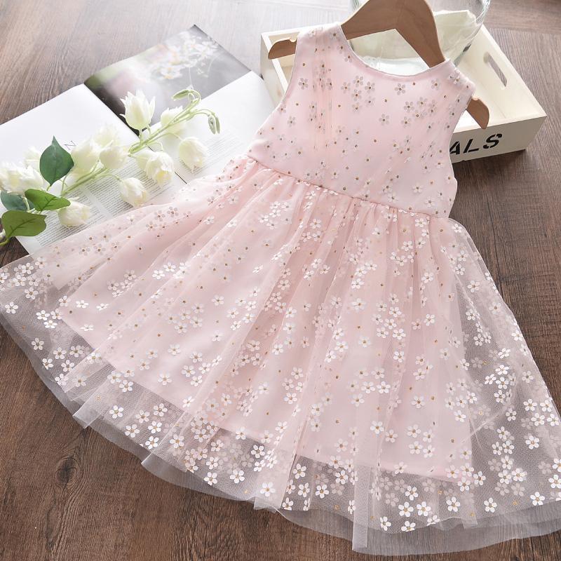 Filles fleurs robes décontractées 2021 Summer Kids mode princesse maille costume enfants fête fantaisie vestidos 3-8 ans fille
