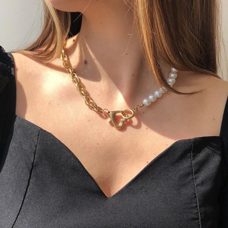 Chains European&American Cross-border Jewelry Temperament Cold Imitation Pearl Creative Asymmetric Chain Stitching Necklace Female