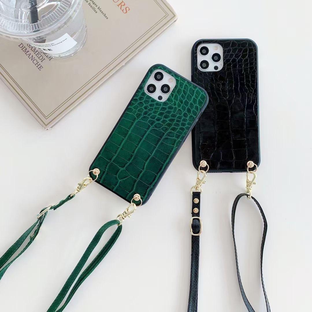 Luxury Crocodile PU кожаный чехол Crossbody телефон для iPhone 12 Pro Max 11 PROMAX XS 7 8 плюс XR SE крышка Huawei Xiaomi Samsung S20