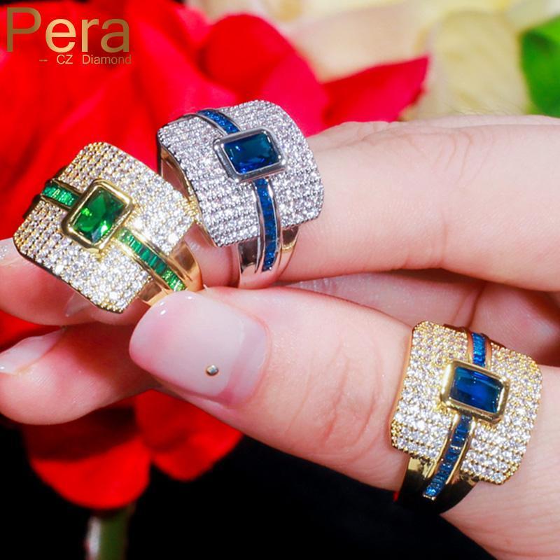 Anéis de cluster pera monaco designer luxo ouro punk gargantilha empilhável bule quadrado cúbico zirconia grande declaração grande casamento dedo nupcial r121