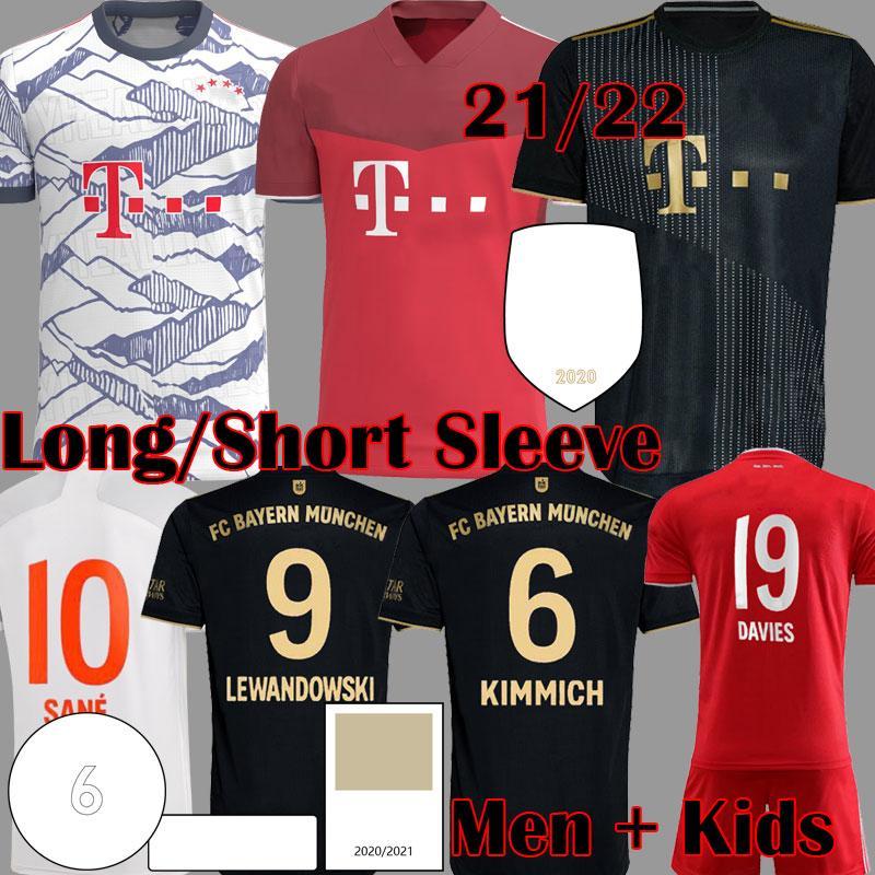 2021 Davies Bayern Futbol Formaları See Lewandowski Uzun Kollu Munchen Muller Gnabry Münih Futbol Gömlek 21 22 Erkek Çocuk Seti HRFC