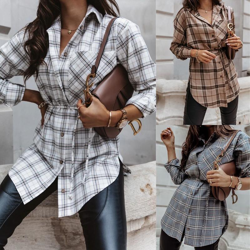 Весна и осень женская европейская американская улица мода плед средняя длина рубашка с длинными рукавами футболка женщина футболка