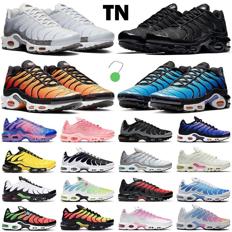 2021 tn الرجال النساء احذية الجري الأزياء المدربين الثلاثي الأسود الأبيض Hyper Blue الباستيل كريتر الوردي تتلاشى لافا في جميع أنحاء العالم Pimento حذاء رياضي رجالي