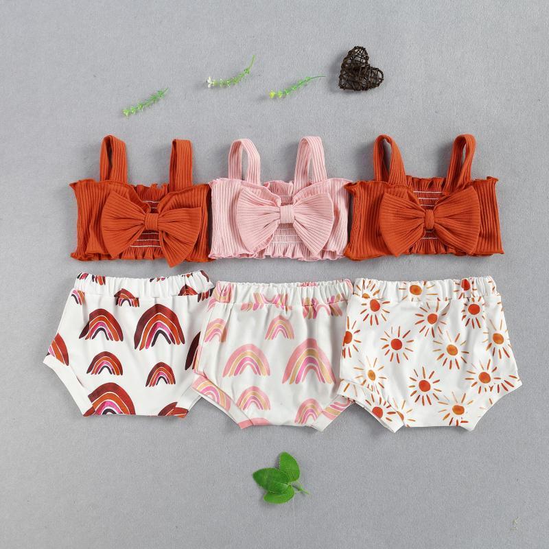 Baby Girls Одежда наборы 2021 Летний малыш рожден ребристые вязаные банкиные костюмы + высокая талия короткая оснащение одежды