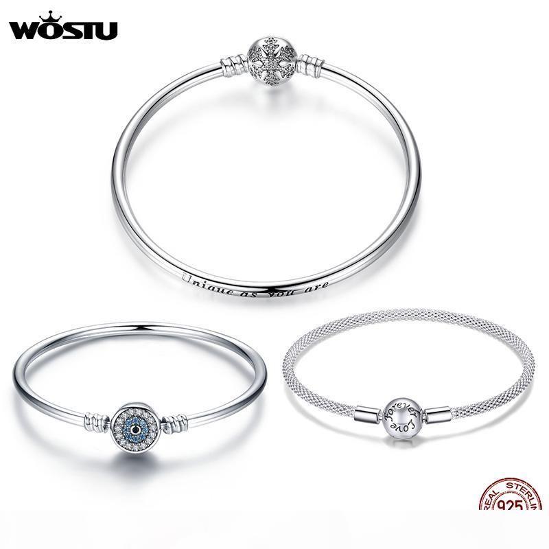 Wostu 100% 925 plata esterlina pulseras originales copo de nieve ojos azules circón cadena en forma mujer pulsera brazalete joyería