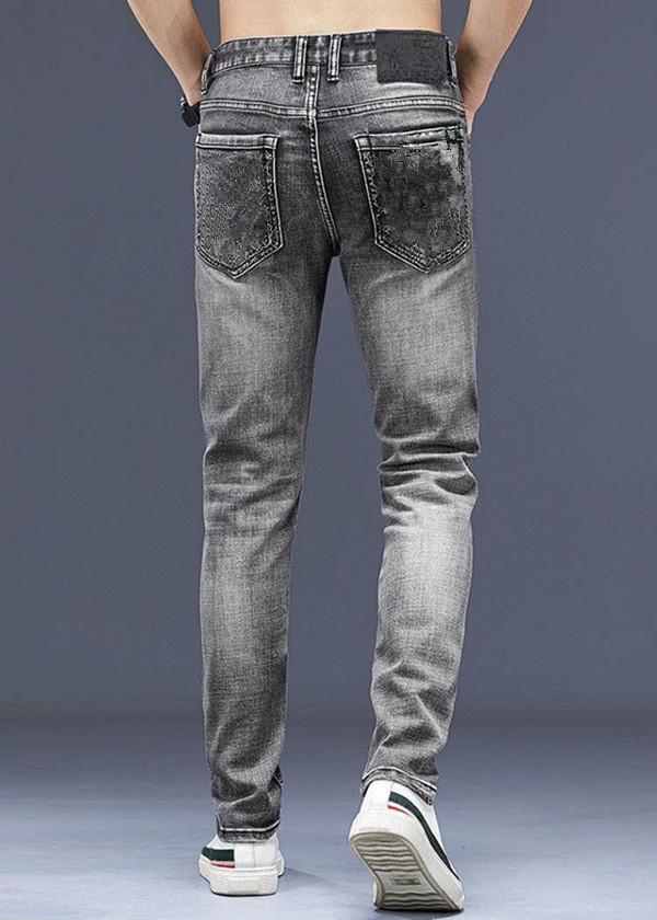 2021SS Mens Luxuryser Design Desligado Magro Skinny Jean Slim-Leg Calças de Jeans Negócios Negócios Homens Denim Calças Hip Hop Calças Tamanho 28-38