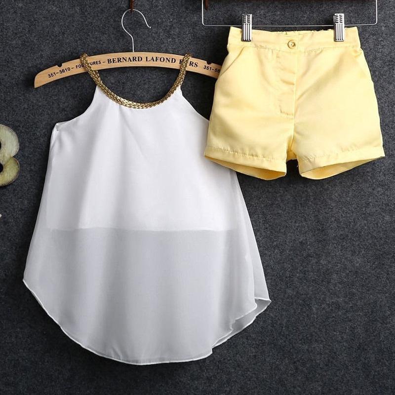 الفتيات جديلة هدفين قمم + السراويل مجموعة الصيف 2021 ملابس الأطفال 2-7 سنوات الاطفال أزياء تتفوق 2 قطع مجموعات