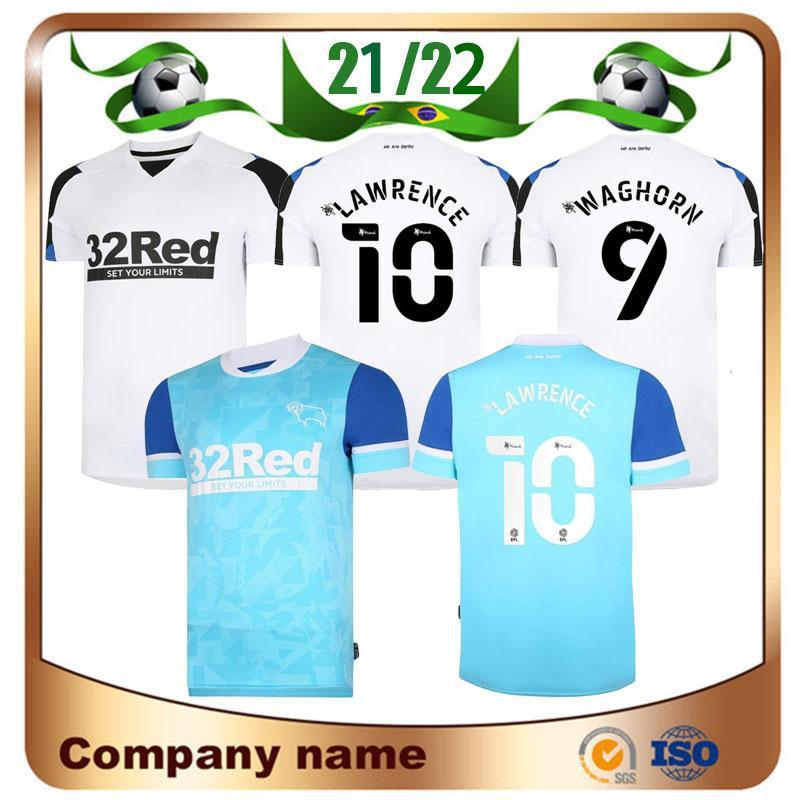 21/22 Derby County Futebol Jerseys 2021 Home White Sabedoria Waghorn Martin Camisa Lawrence Holmes Rooney Futebol Uniforme