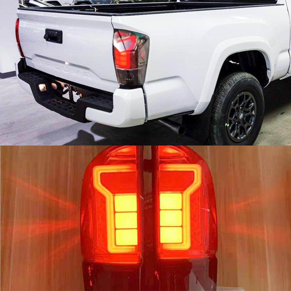 2pcs para TOYOTA TACOMA 2016 - 2020 Pickup Car Styling Levado Tailight Vermelho Vermelho Cauda Traseira Luz Lâmpada de Freio Luz de Freio Luz de Aviso