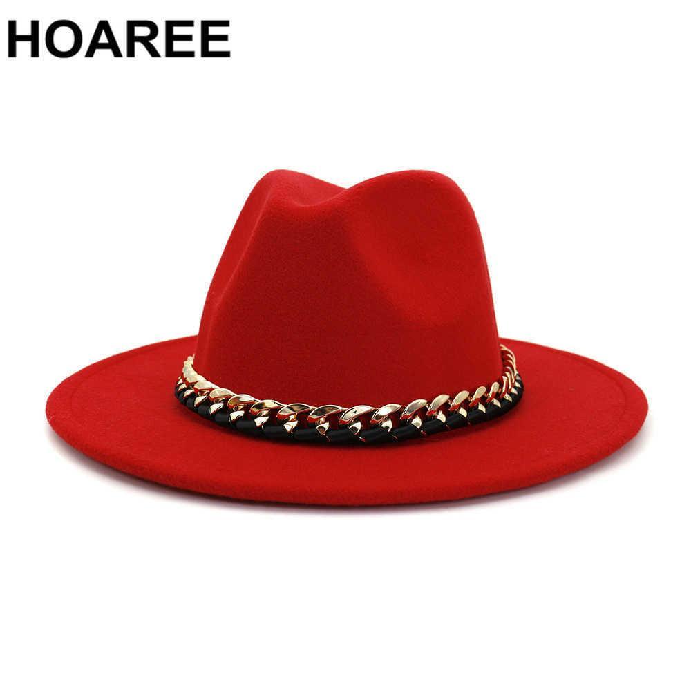 Hohee rote Frauen Fes Mode Jazz Hut Herbst Winter Wollkappe Rosa Schwarz Grey Navy Outdoor Casual Hut 210623