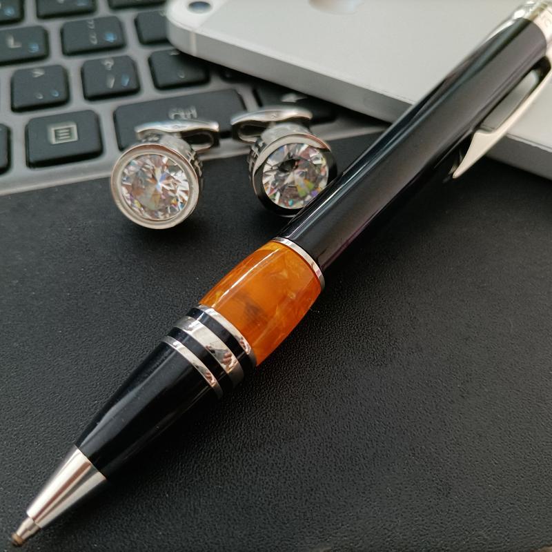 Bouton de manchette en acier inoxydable Bouton de manchette d'emboutissage en acier inoxydable avec stylo à bille en résine en métal en métal en métal