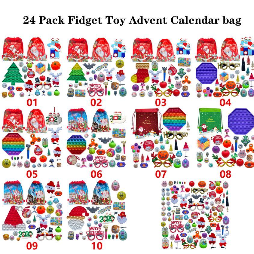 24 Paket Fidget Oyuncak Noel Geri Sayım Takvim Kör Çanta Advent Takvim Noel Hediye Çanta Noel Ağacı Süs ZZA3450
