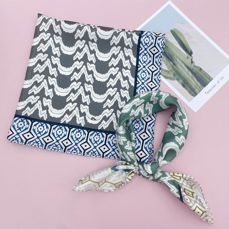 패션 작은 정사각형 스카프 실크 여성 항주 봄 인쇄 뽕나무 스카프
