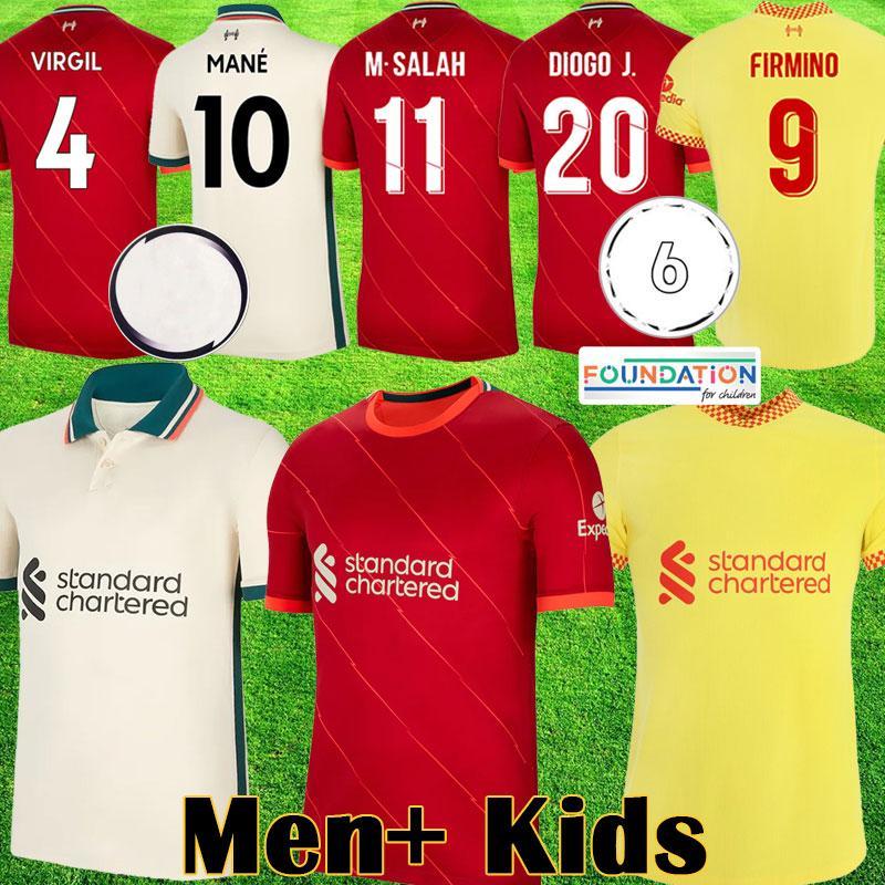 21 22 LVP soccer jerseys Mohamed SALAH ALEXANDER ARNOLD Mane Firmino VIRGIL DIOGO J Thiago A.BECKER LIV football shirt KEITA men kit 2021 2022 kids equipment 1234