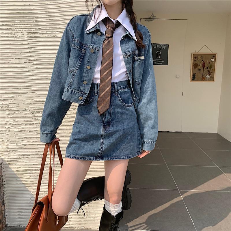 Chaqueta de mezclilla primavera de mujer 2021 coreana corta, suelta y súper bomberos moda moda
