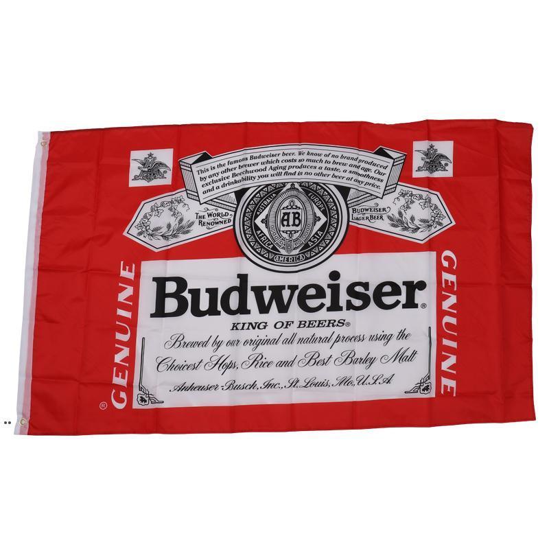 Budweiser King Beers bandera bandera al aire libre 3x5ft Polyester Banner en vuelo 150 * 90 cm DWD8416