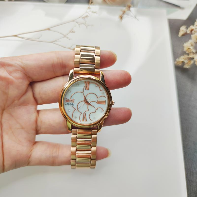 Grande desconto limpo estoque caixa redonda relógio de cobre para as mulheres branca / rosa dourada e bonitinho banda larga relógios de pulso relógios de pulso