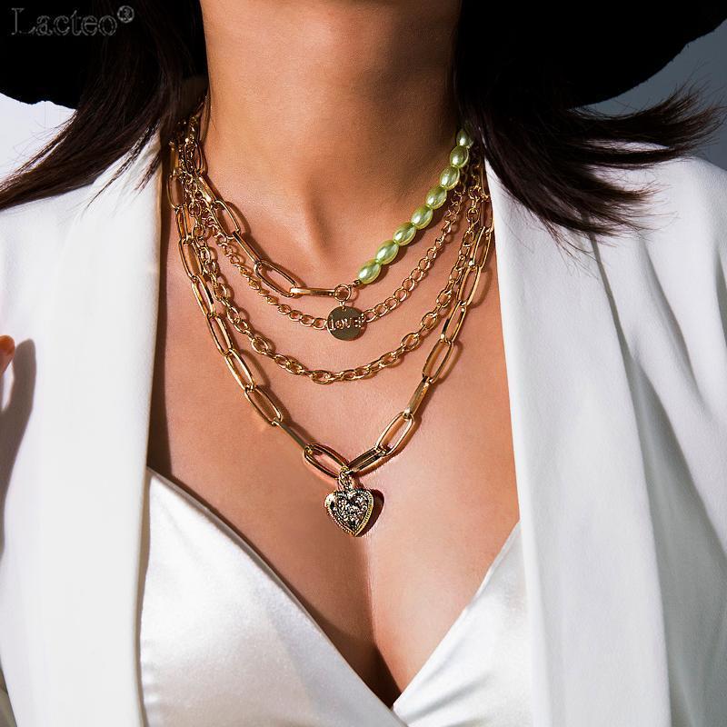Ожерелья кулон Ожерелья Lacteo Vintage Love Сердце Открытое Ожерелье для Женщин 2021 Мода Многослойный Шампанское Имитация Pearl Choker