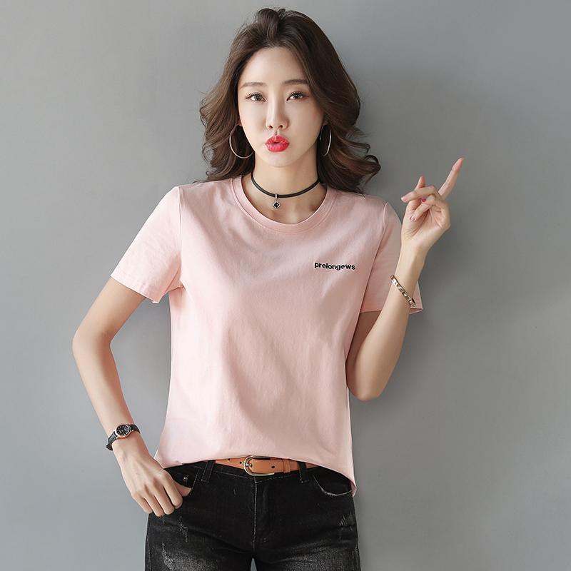 T-shirt das mulheres Plus size verão rosa camiseta mulheres tops bordado letra branco camisetas roupas coreanas manga curta tee 3xl