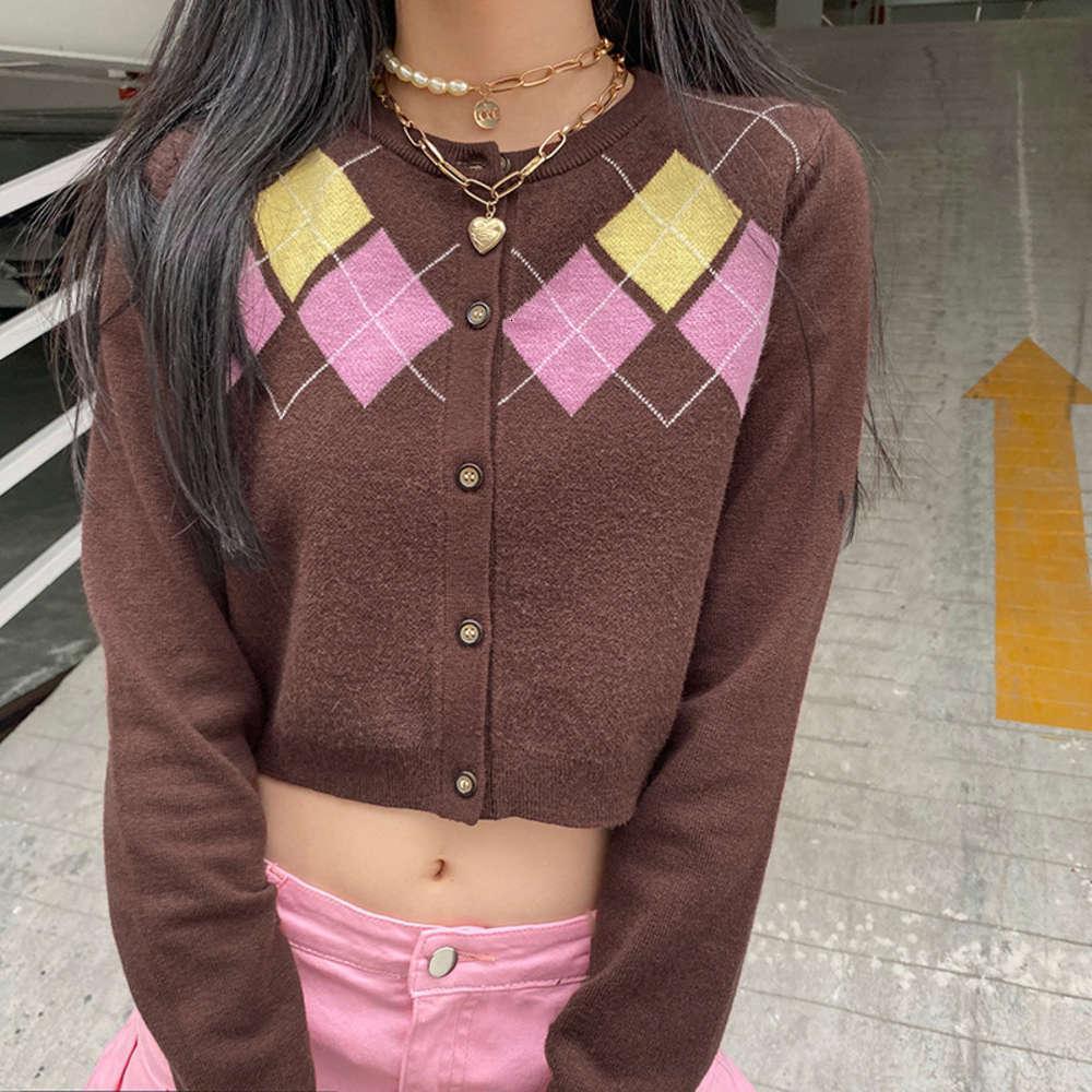 Bayanlar Ceket Kısa Coatutumn Kış Triko Baskı Ince Uzun SVE Olen Üst Kazak Ceket