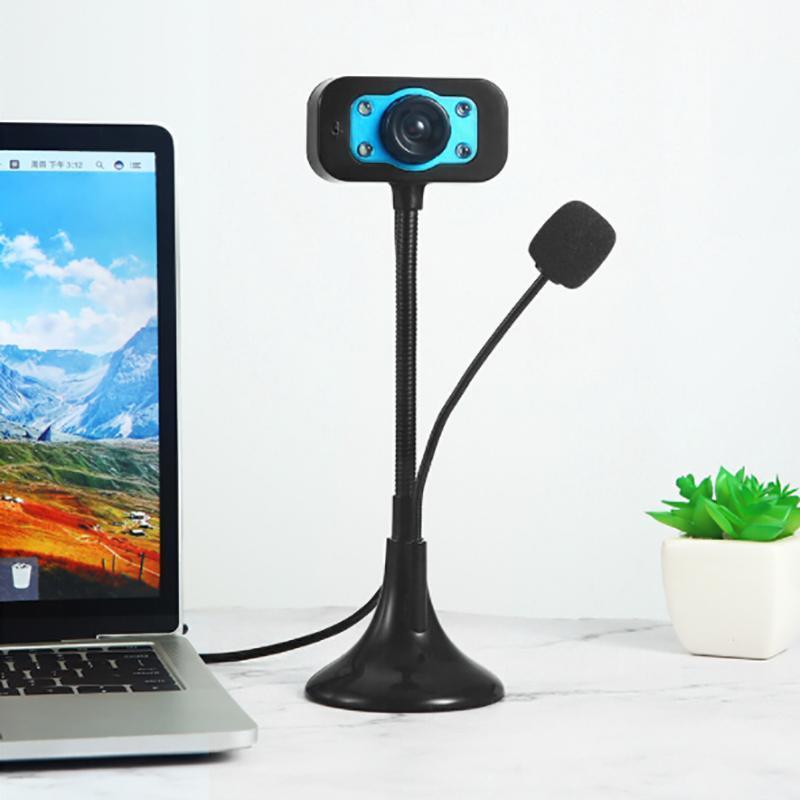 웹캠 LED 고화질 웹캠, 바탕 화면 또는 노트북 마이크 라이브 브로드 캐스트 홈 비디오 USB 드라이브 프리 카메라