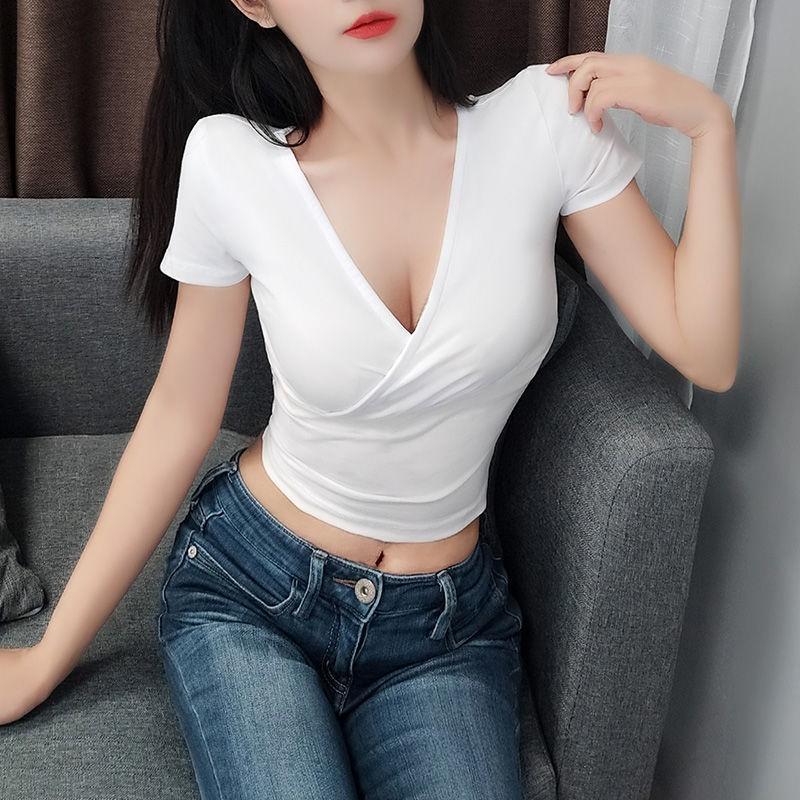 T-shirt bianca in puro cotone manica corta Ins 2021 Summer Tight Cross scollo a V esposto all'ombelico da donna