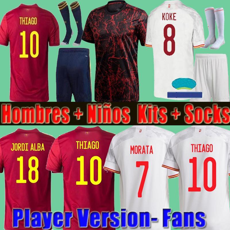 2021 Espana Futbol Forması Rodrigo Torres Pedri İspanya Hayranları Oyuncu Sürümü Futbol Gömlek Morata Ramos Thiago Iniesta Çocuklar Kiti España Ekipmanları Camisetas de Futbol