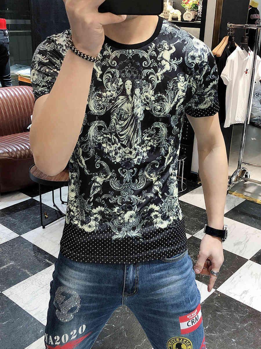 Tee Mode Homme Luxe Paisley Tshirt Yüksek Kaliteli Adam için 2021 Bahar Yaklaşık Boyun Kol Kısa Gömlek Gösterim
