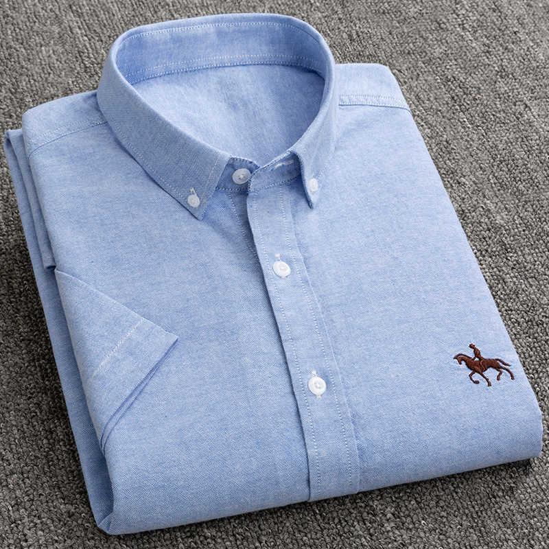 2021 Primavera y verano Camisa de algodón de manga corta de hombre de verano ocio oxford sólido camisa spinning shuda paul pulgada camisa