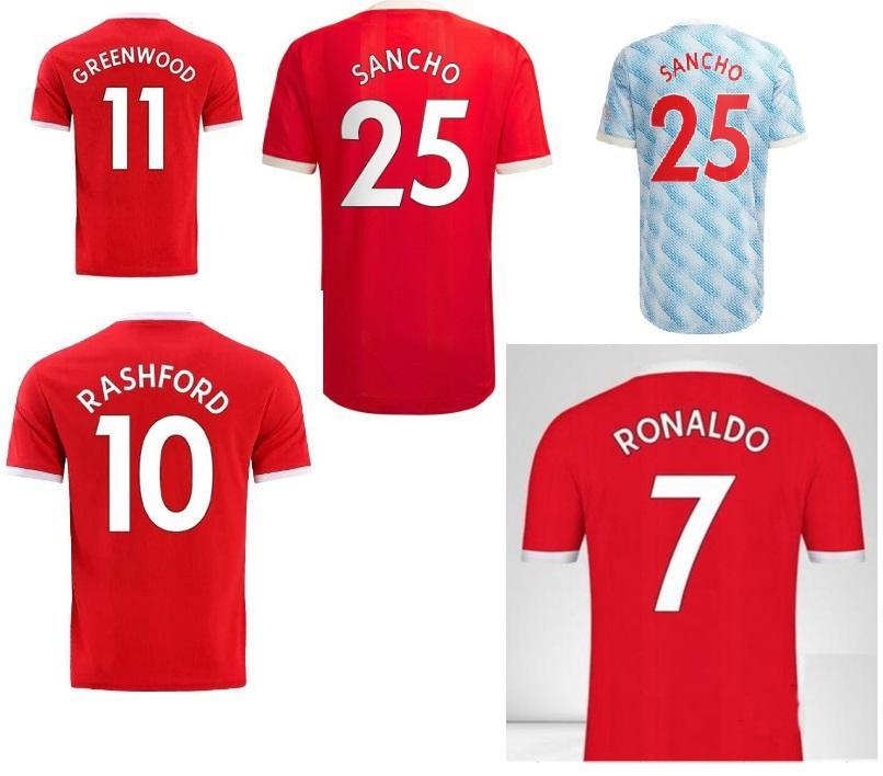 7 Ronaldo Cavani 21 25 Sancho Soccer Jersey 10 Rashford 18 B.Fernandes 34 Van de Beek Personalizado Su 2021 Top Tailandés Calidad personalizada Jerseys personalizados