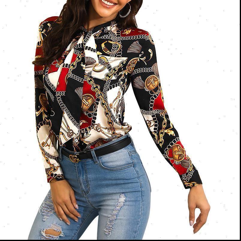 Patlama modelleri moda zincir kadın bluzlar uzun kollu rahat bluz ile boyun çizgisi baskı