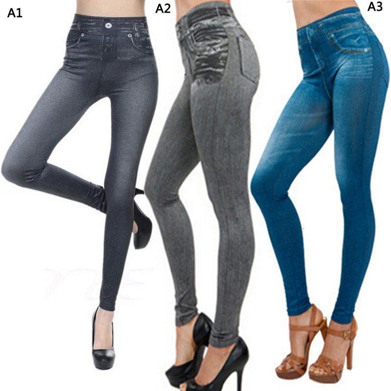 ربيع الخريف أزياء الجينز الدينيم تصميم طماق السراويل السيدات تقليد الجينز المرأة زائد حجم طماق أسود / رمادي / أزرق HX1106