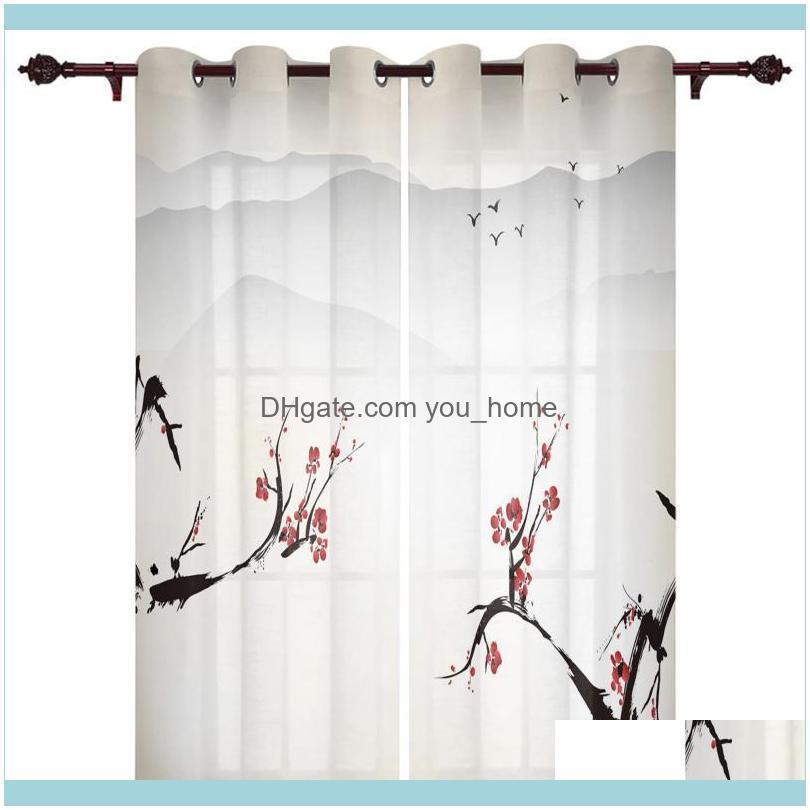Deco El Supplies Home Gardenluxury Modern Window Curtains Plum Blossom Bird Ink Bedroom Living Room Dining Decoration Translucent Beautiful