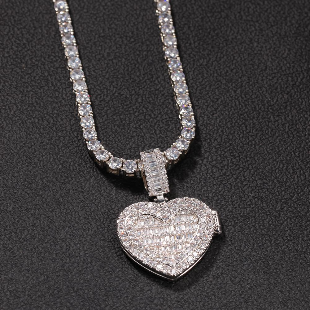 Custom Photo Necklace Heart Clamshell Pendant Men Charm Hip Hop Bling Iced Out Jewelry Solid back For Gift