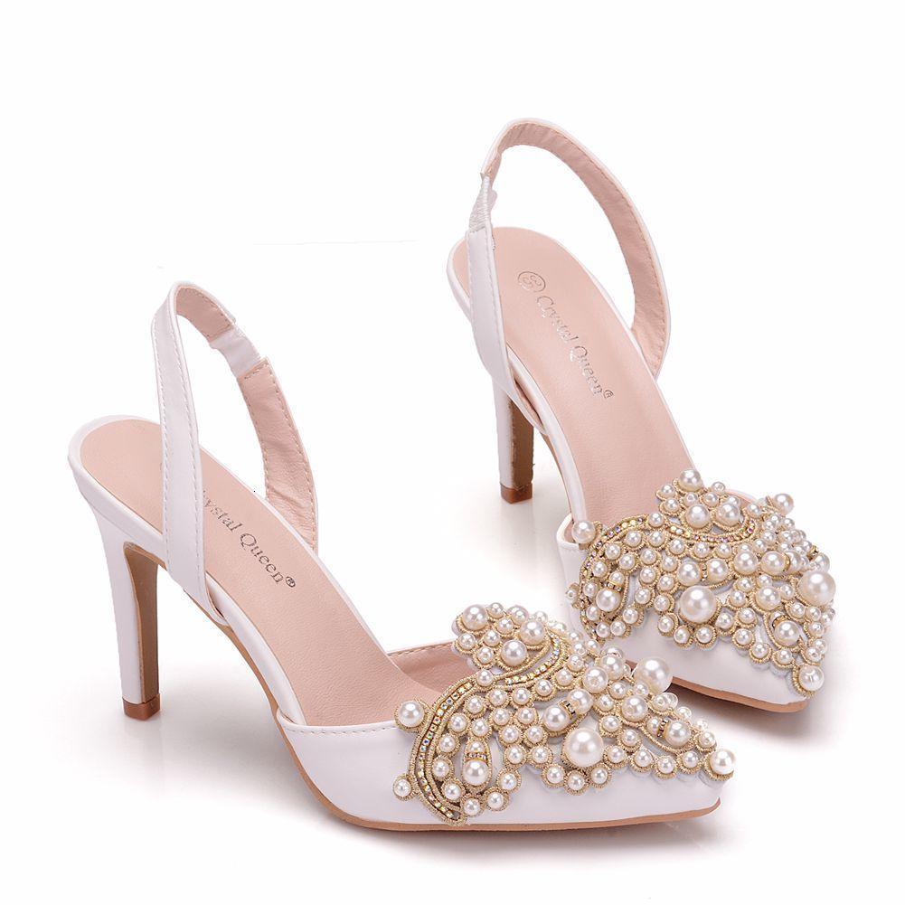 Elbise ayakkabı sapatos de salto feminino cristal kraliçe, calçado renda pérola elegante şehvetli com ponta fina para festa casamento 3nu7