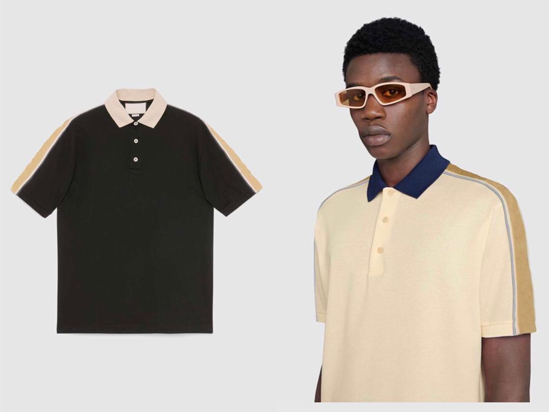 2021 Classic Street Polo Herren Freizeitmarke T Shirts Gurtband 3M Reflektierende Streifen Nähte Stickerei Komfortable hochwertige Material Split Design T-Shirts