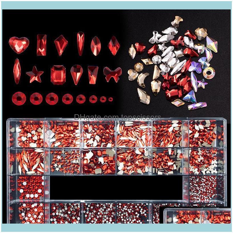 Nail Salon Health & Beautynail Glitter 1/Box Art Rhinestones+1Pc Wax Pen Picker Crystal Gold/Red/Ab Set Multicolor Flatback Strass Charms De