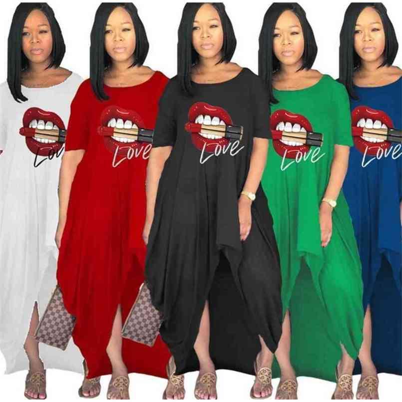 S-4XL Big Red Mouth Print Women Maternity Long Dress Irregular Elegent Split Summer Dresses Party Beach Club Overall Oversize Loose One piece Skirt Clothing G65WORH