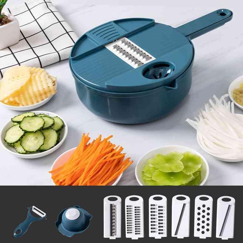 Cortador de vegetais Multifuncional Mandoline Slicer Fruta Batata Peeler Cenoura Queijo Ralador Acessórios Cozinha Chopper Slicer 210326