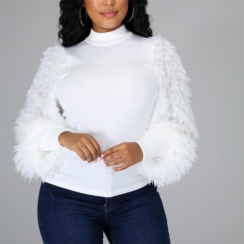 Femmes chemisier hiver manches longues blanches blanche noire col rond côte causal causal quotidien usure fashion tops chemisier chemise haute qualité 210323